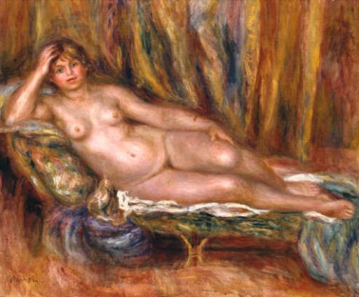 PIERRE AUGUSTE RENOIR - Nude on a coach, 1915