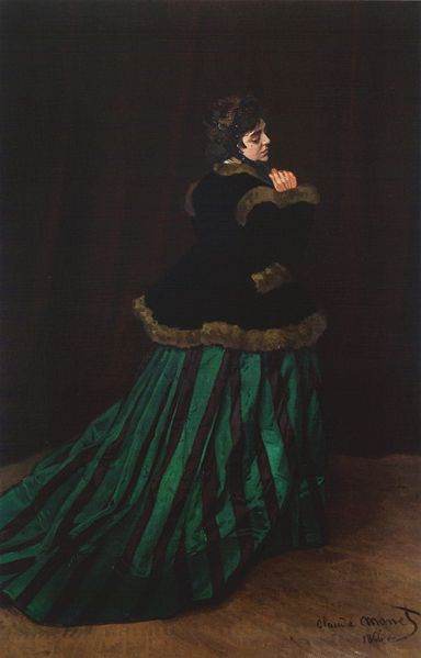 CLAUDE MONET - THE WOMAN IN THE GREEN DRESS, CAMILLE DONCIEUX, 1866.