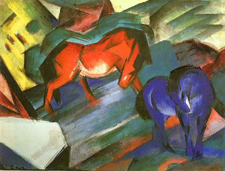 FRANZ MARC - RED AND BLUE HORSES, 1912.