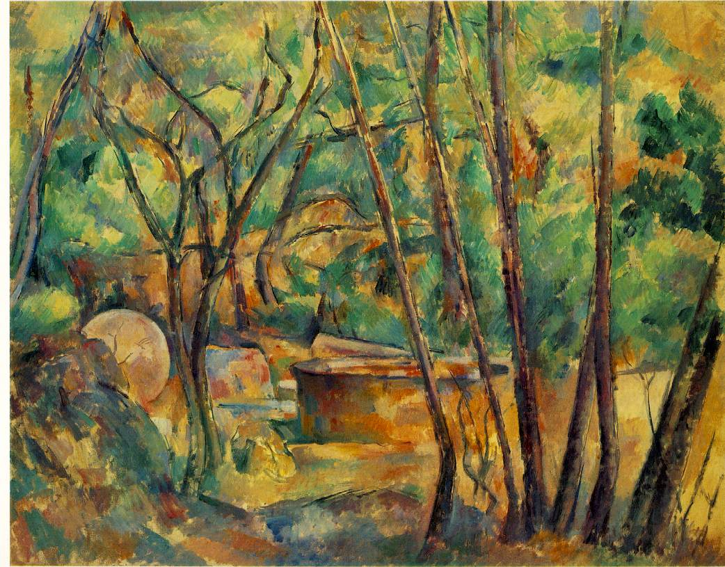 PAUL CÉZANNE - MILLSTONE AND CISTERN UNDER TREES, 1892.