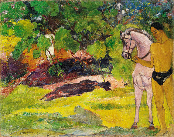 PAUL GAUGUIN - IN THE VANILLA GROVE, MAN AND HORSE, 1891.