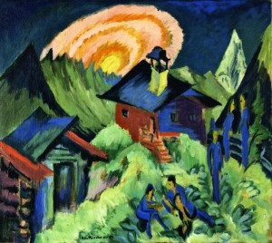 Ernest Ludwig Kirchner - Rising Moon on the Stafelalp - 1917